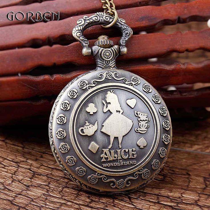 Retro Alice in Wonderland pocket watch necklace Chain Vintage Women Men Quartz pocket Watch Pendant Hour Gift Relogio De Bolso