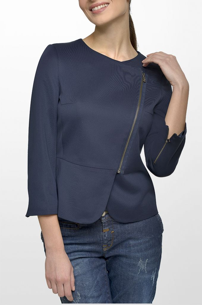 Sarah Lawrence - crew neck side zip blazer, straight leg denim pant.