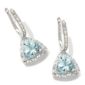 Gem Treasures Aquamarine & White Zircon Drop Earrings for very special occasions.