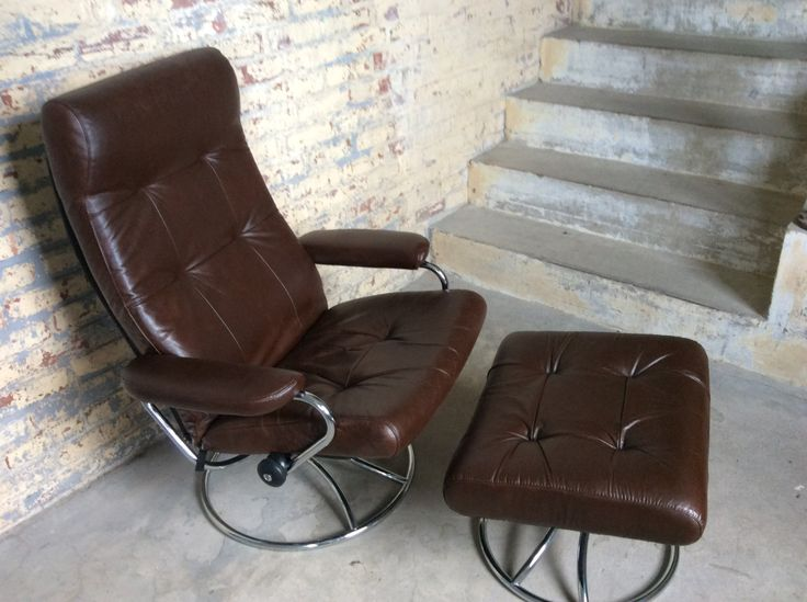 Mid Century Ekornes Brown Leather Recliner Chair - Danish Modern Chair -  EKORNES Stressless Swivel : brown leather recliner chairs - islam-shia.org