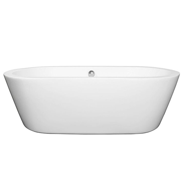 Wyndham Collection Mermaid 5.92 ft. Center Drain Soaking Tub in White-WCOBT100371BNTRIM - The Home Depot