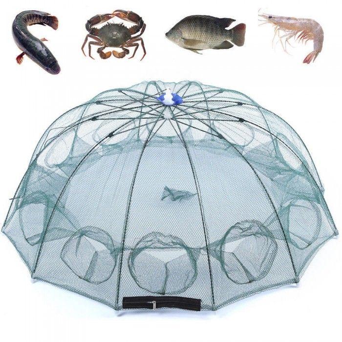 6 Holes Magic Fishing Trap Automatic Folding Shrimp Cast Cage Crab Fish Net