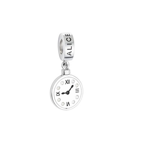 Pingente Relógio Prata Esmaltada Alice no País das Maravilhas - Life Moments