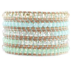 Mint Mix Sectioned Wrap Bracelet on Beige Leather