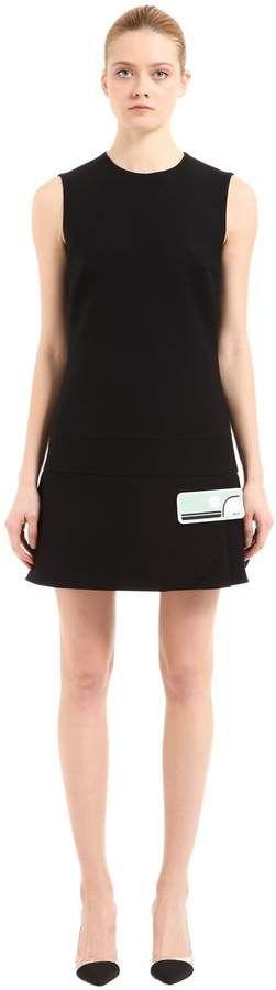 Prada Rubber Logo Patch Wool Nattè Dress