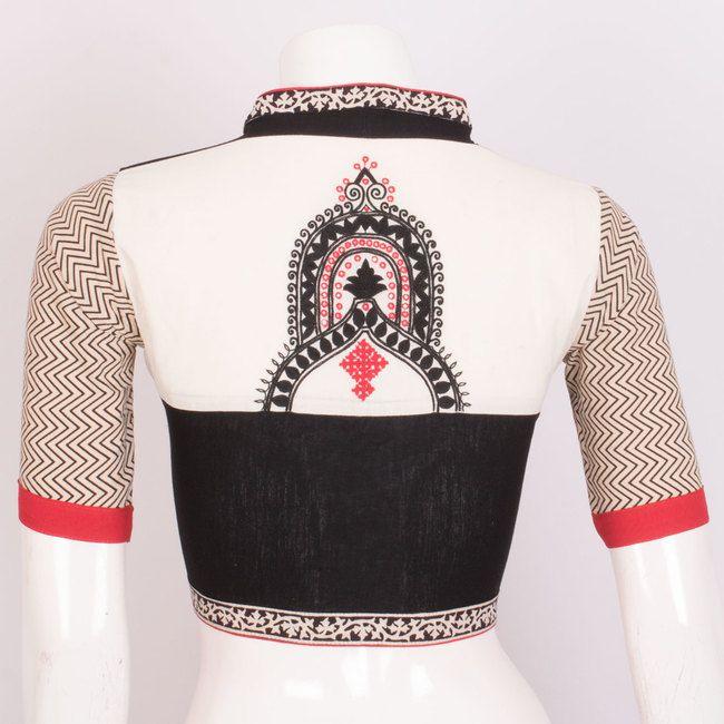 Hand Embroidered Cotton Blouse With Mirror Work & Collar Neck 10020616 - AVISHYA.COM