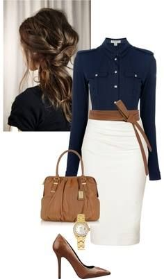 "newest 2015 ""judo"" belt look w/ pencil skirts and cry slightly military blouse. Love the navy-white-tan combo"