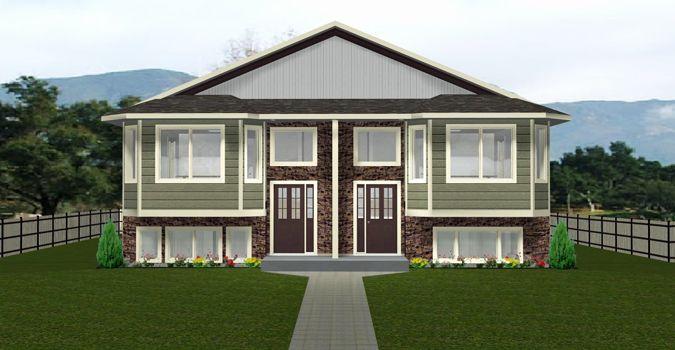 Duplex Plan 2012611 A Side By Side Duplex Walkout Basement Design Open Floor Plan With 2 Bedrooms On Main Floor Fu Basement House Plans Duplex Plans Duplex