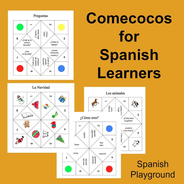 Spanish game to practice numbers, colors, animal vocabulary, and common questions. Printable templates and instructions for making this folded paper toy.