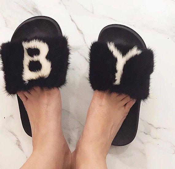 69153d2ae3ea4 Customized Letter Mink Fur Slides   Bella Fur Couture in 2019   Fur ...