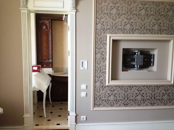 3d ein beispiel f r die installation der tv im schlafzimmer wandnische tv. Black Bedroom Furniture Sets. Home Design Ideas