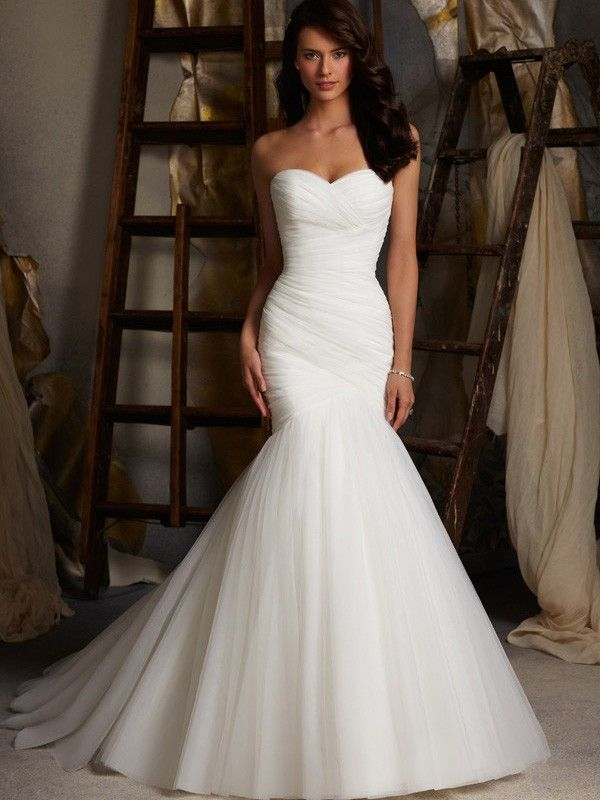 Trending Trumpet Mermaid Sleeveless Tulle Sweetheart Chapel Train Ruched Wedding Dresses