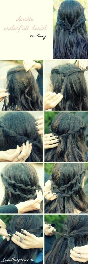 Double waterfall twist hair DIY