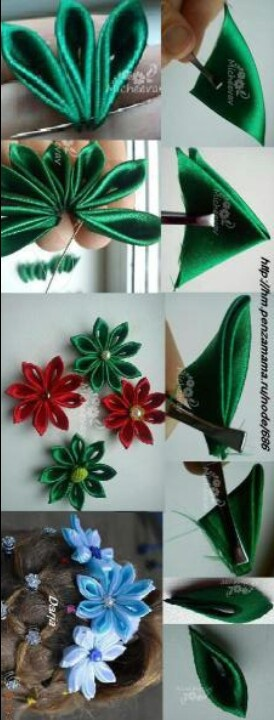 Flores de tela fabric flowers 8 petalos