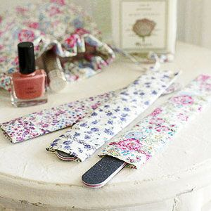 Pretty emery board covers to make from scraps of fabric