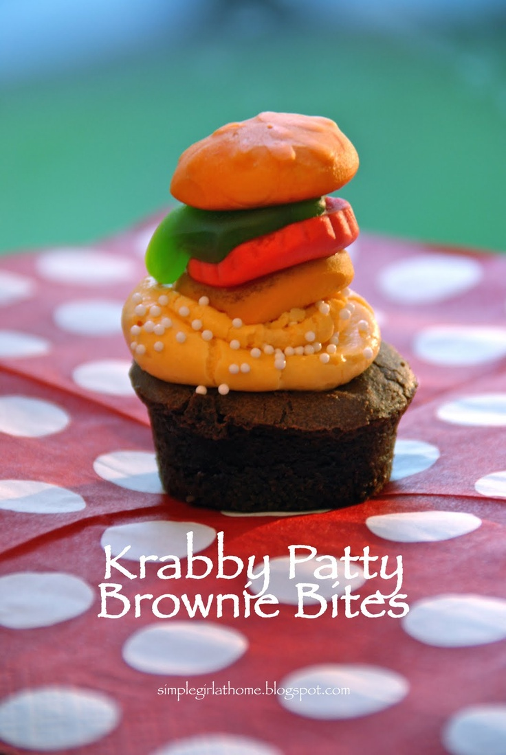 Adorable Father's Day food. Simple Girl: Father's Day Krabby Patty Brownie Bites