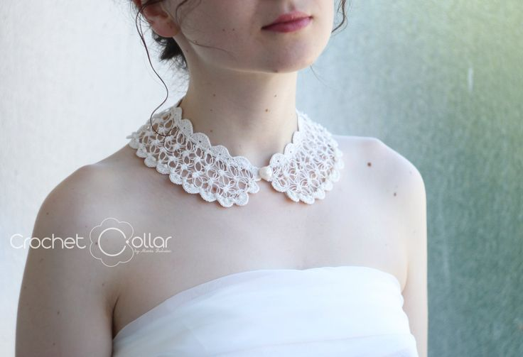 Bridal Crochet Collar Ivory Delicate Lace with Semiprecious Gemstones by CrochetCollars on Etsy