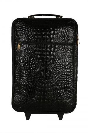 Zeno croc black leather travel bag wheeled luggage : for my man
