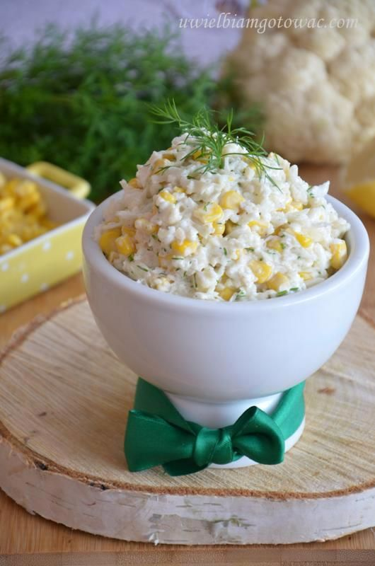 Surówka z kalafiora i kukurydzy  Składniki:      1 śred…