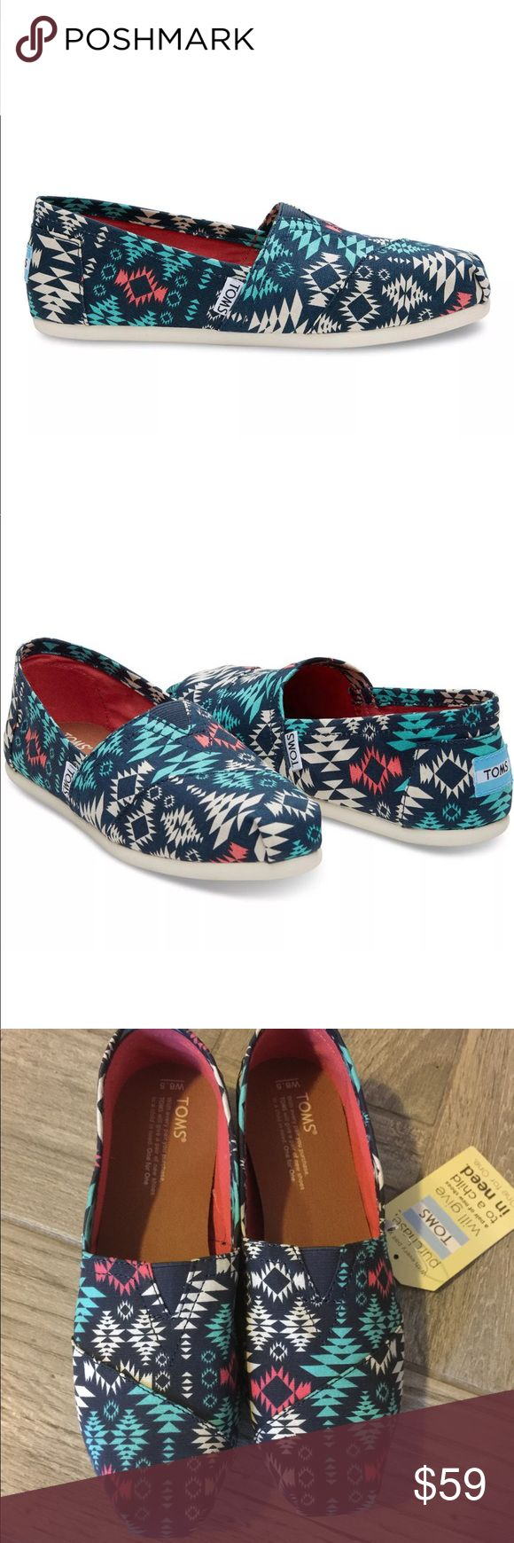 "New Toms classic blue blanket print canvas flats With more cushioning than ever, our Classic Alpargata is a must-have. Featuring a blanket print, the easy slip-on style goes with almost everything in your closet. ·    Blue blanket print canvas upper ·    Elastic ""V"" for easy fit ·    Molded footbed for increased cushioning ·    Rubber outsole with improved traction ·    Removable, antimicrobial sock liner    Condition:   New with box  Stock #:  AMR9-110 Toms Shoes Flats & Loafers"