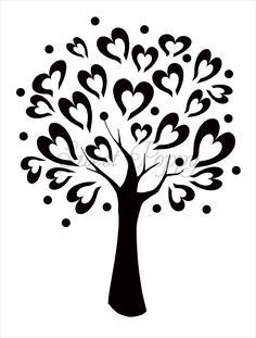 Ağaç 1 tree stencils | Sweet Poppy Stencil: Tree of Love. Para armar libro de firmas.