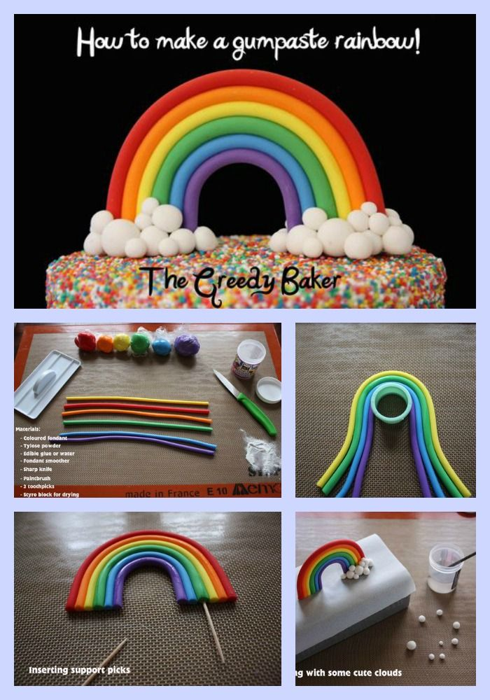 How to make a Fondant Rainbow - gâteau - arc en ciel - pâtisserie - DIY - tuto - cook - cake - licorne - unicorn