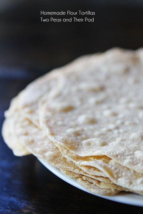 Homemade Flour Tortillas Recipe on twopeasandtheirpod.com SO easy to make at home!