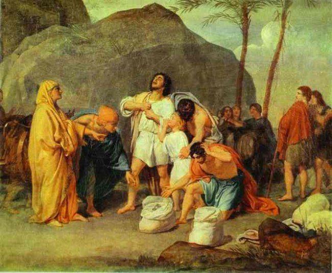 Alexander Ivanov 1806 – 1858     Joseph's Brothers Find the Silver Goblet in Benjamin's Sack     oil on canvas — 1831-1833