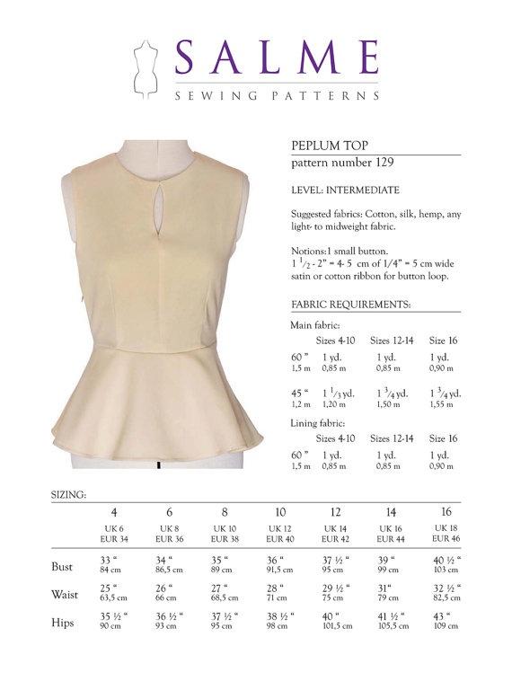 PDF Sewing pattern Peplum top by Salmepatterns on Etsy, $8.00 ...