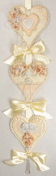 A wall hanging made of hearts