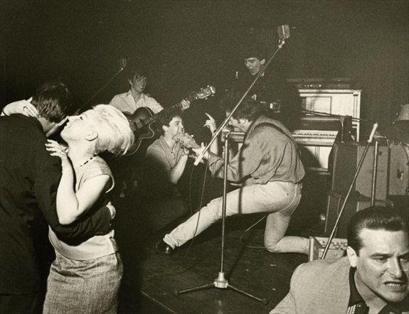 1961 - Stuart Sutcliffe, Paul McCartney, George Harrison and John Lennon, Top Ten Club, Hamburg, Germany.