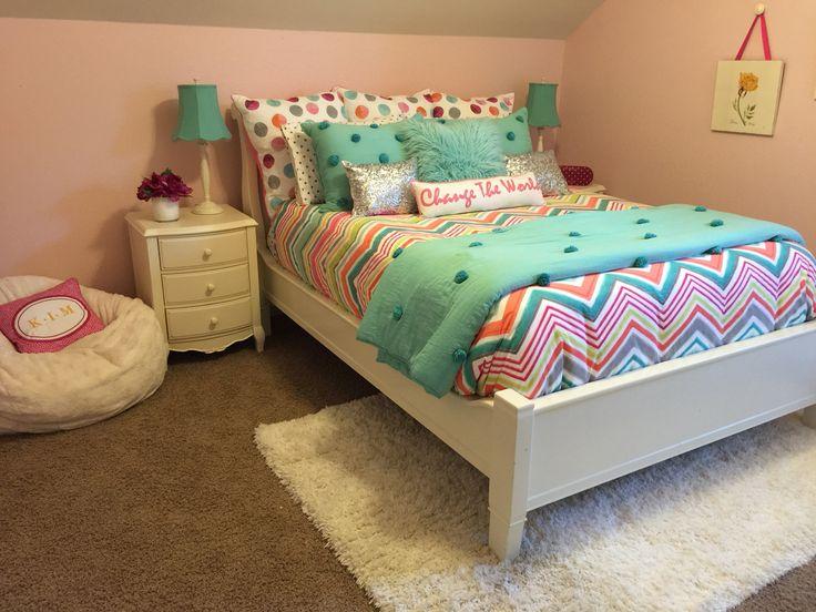 Sheryl Kennedy Meyer ~ RH Kids eco friendly petal pink paint, Pottery Barn Kids furniture, PB Teen bedding / pillows, Pier 1 Imports furry bean bag & Home Goods rug.....