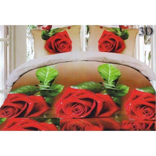 Hnedé obliečky na posteľ s červenými ružami