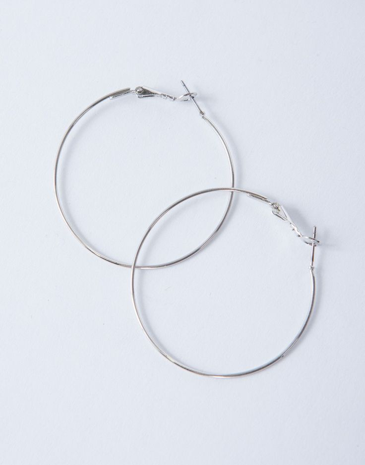 Shiny Thin Hoop Earrings