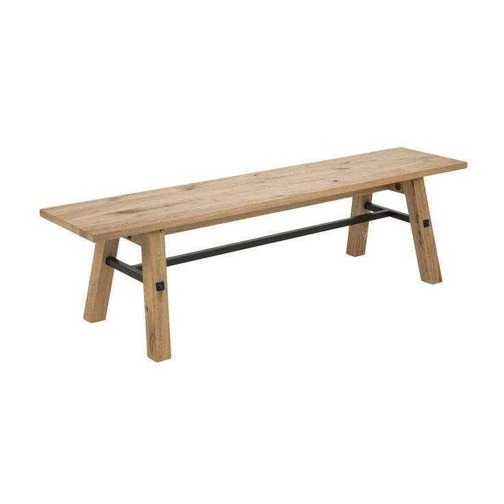 Met de MOOS houten bank kun je alle kanten op. Gebruik hem als zitplaats aan de eettafel of zet 'm tegen de muur met leuke woonaccessoires erop zoals een kandelaar of plaid, het kan allemaal! De eikenhouten bank is afgewerkt met een metalen frame.