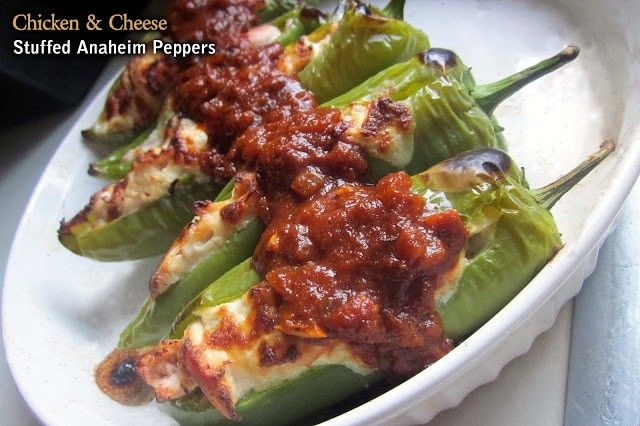 Chicken And Cheese Stuffed Anaheim Peppers Recipe Stuffed Peppers Mexican Food Recipes Recipes