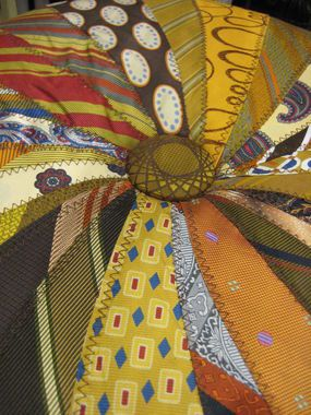 OLD TIES. All over the thrift shops. Simple sewing, make a pouf or a pillow. KICK IT UP A NOTCH and use your father's or grandfathers ties in a project.