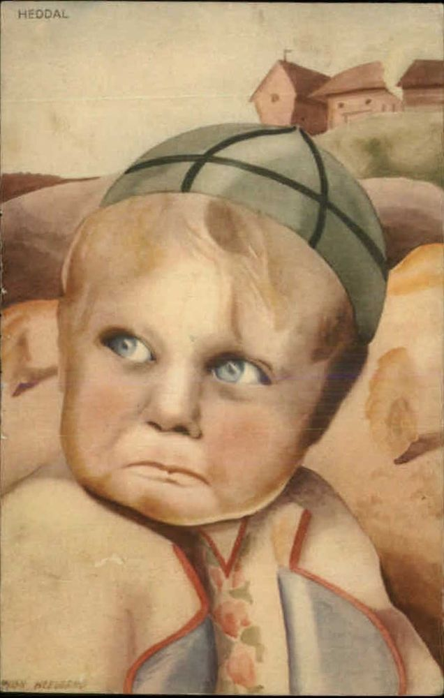 A/S MILLY HEEGAARD Heddal Crying Little Boy SCANDINAVIAN Old Postcard