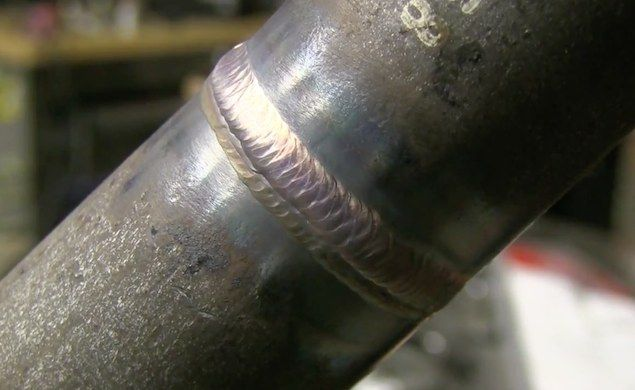 Video shows freehand root and hot pass plus cover pass using walking the cup tig welding technique for a 6g welding test