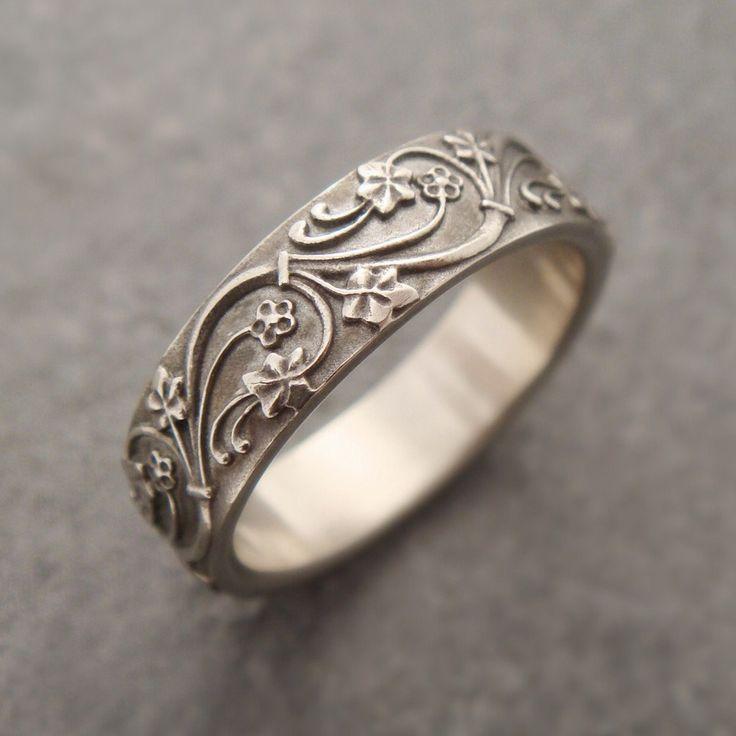 Wedding Band, Wedding Ring Art Deco Ivy Ring 14k Yellow Rose, White Gold Wedding Band Women's Wedding Band Men's Wedding Band Women's Band