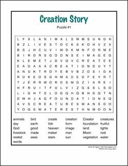 Creation Story Word Searches to