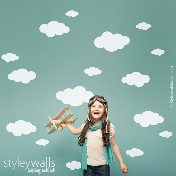 Clouds Wall Decal, Clouds Wall Sticker, Clouds Decor for Children Baby Nursery Room, Clouds Wall Decal Sticker, Cloud Nursery Wall Decal