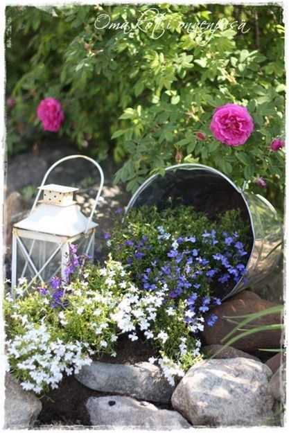Don't throw away your broken or unwanted wares. Treat and use them for your outdoor space. As in this picture a broken pail can easily become a scenic garden container.  You can place a small citronella candle in an unwanted lantern.