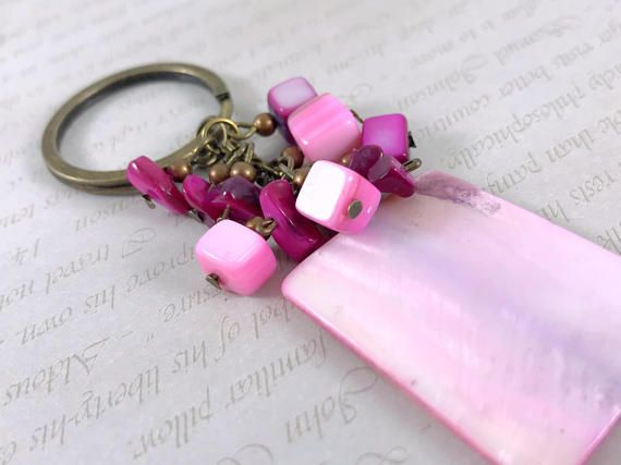 Pink Mother of Pearl large key chain Gemstone key chain