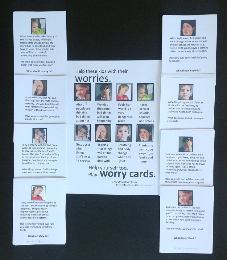 """Worry cards"" – Free download card game activity to help kids with ASD deal with anxiety"