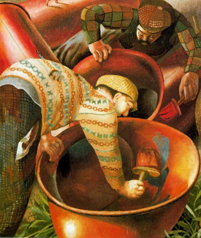 Stanley Spencer, (English painter, 1891 – 1959)  It's About Time: Englishmen Working by Stanley Spencer 1891-1959