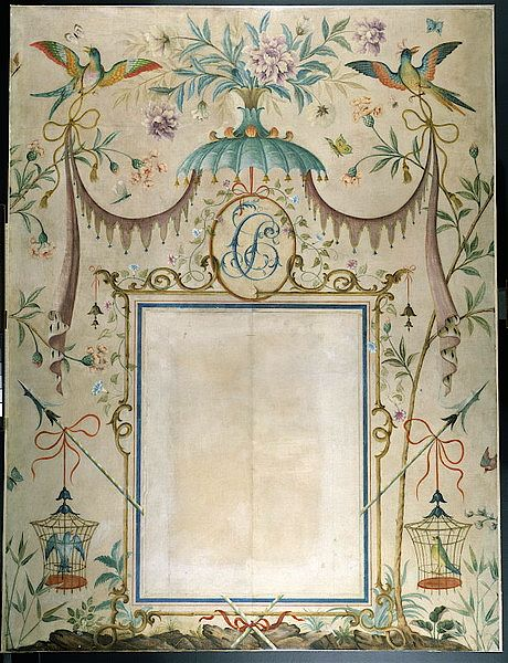 The panel over the mantle painted by Rex Whistler c 1932 in the Chinese Bedroom, 12 N Audley Street, London.  Photo from Victoria & Albert Museum.