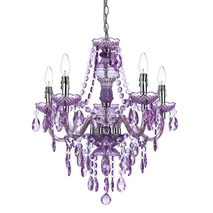 fun purple chandelier for gracelyns room