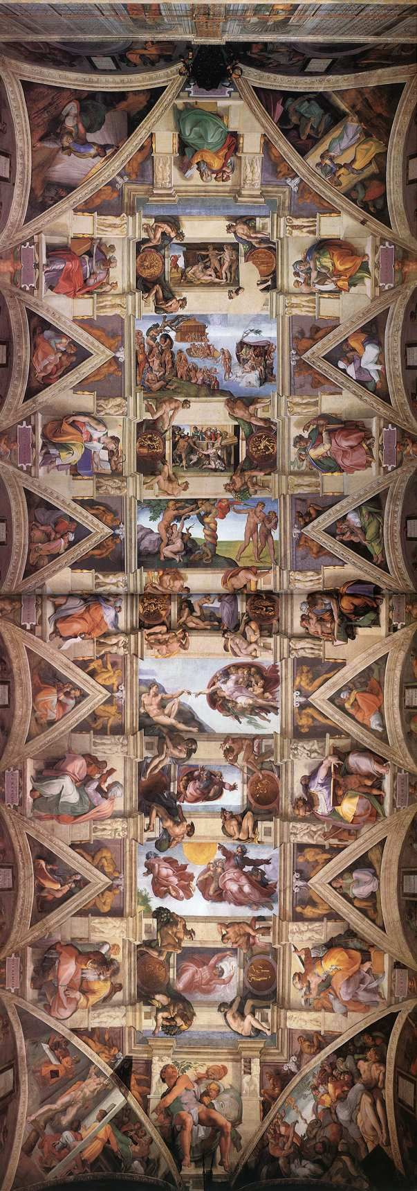 MICHELANGELO: Sistine Chapel Ceiling, fresco, 128' x 45', Vatican, Rome. 1508-12.  The nine central panels show the Stories of Genesis, from the Creation to the Fall of man, to the Flood and the subsequent rebirth of mankind with the family of Noah.