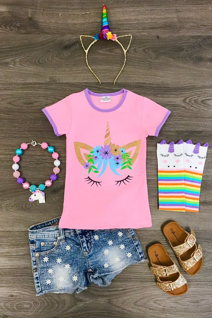 ad48795faf2b Pink Unicorn Face T-Shirt - Sparkle in Pink